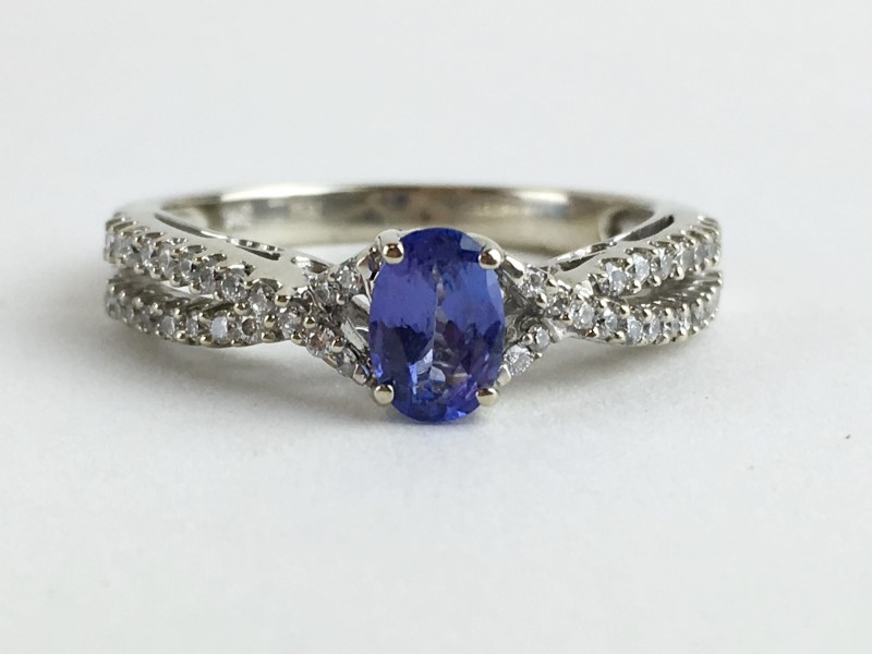 Tanzanite & Diamond Ring 44 Diamonds .44 Carat T.W. 14K White Gold