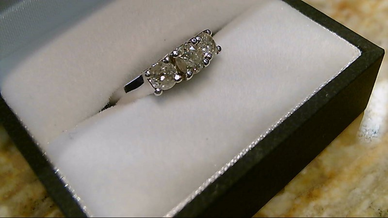 Lady's Diamond Engagement Ring 3 Diamonds .73 Carat T.W. 14K White Gold 3.6g