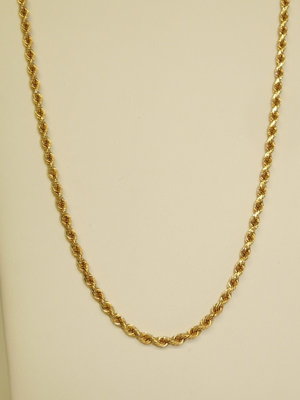"""20"""" Gold Rope Chain 14K Yellow Gold 3.8g"""