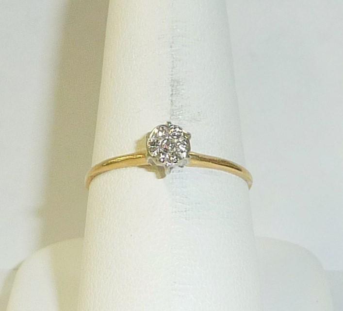 Lady's Diamond Engagement Ring 7 Diamonds .07 Carat T.W. 10K Yellow Gold