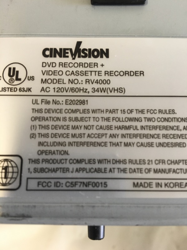 CINEVISION VCR/DVD RECORDER RV4000