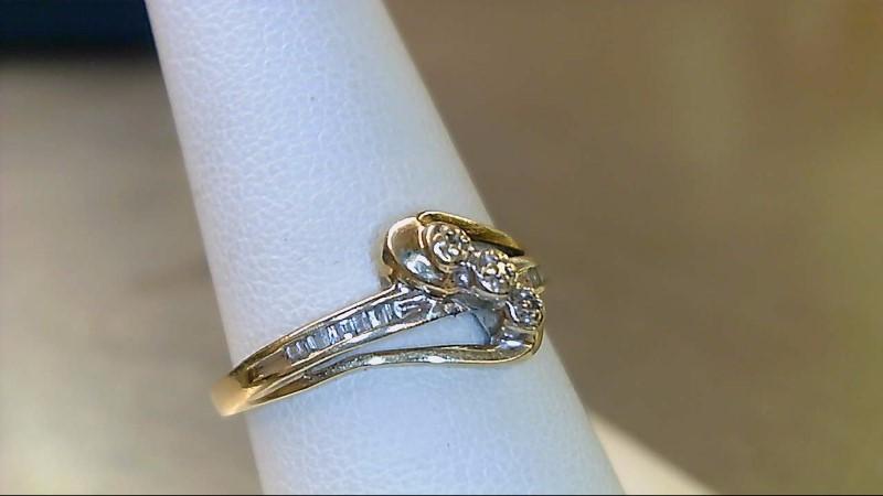 Lady's Diamond Fashion Ring 15 Diamonds .075 Carat T.W. 10K 2 Tone Gold 1.5g