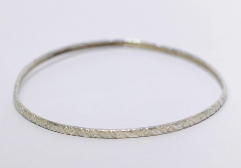 Sterling Silver Fliligree Etched Bangle Bracelet