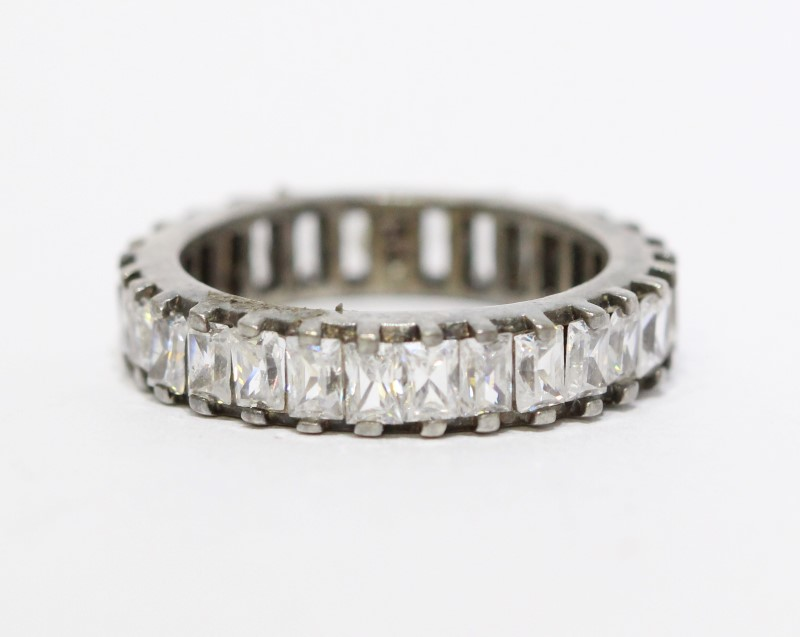 Sterling Silver Baquette Cubic Zirconia Eternity Ring Band sz 7.5