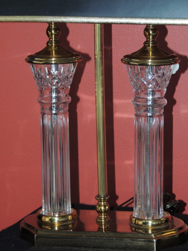 Waterford Crystal - Parkmore Two Light Cluster Column  Brass Desk Lamp