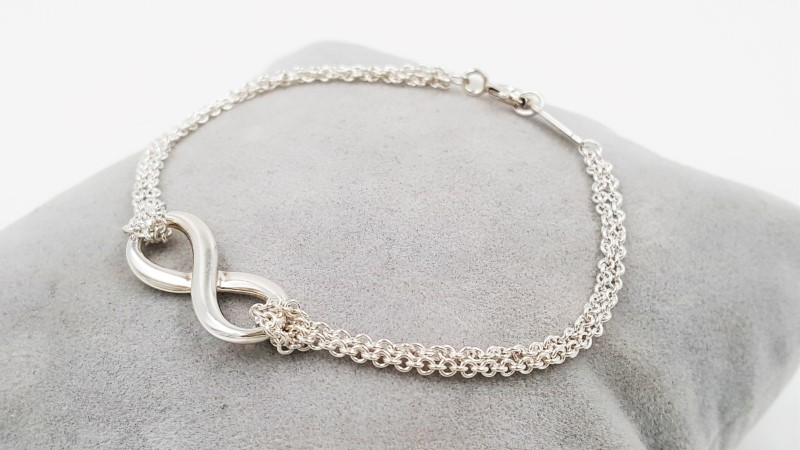 Tiffany & Co. Sterling Silver 925 Infinity Double Chain Bracelet
