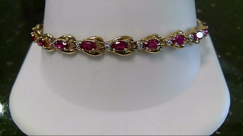 July Birthstone Oval Ruby Diamond & Stone 10K Yellow Gold Bracelet