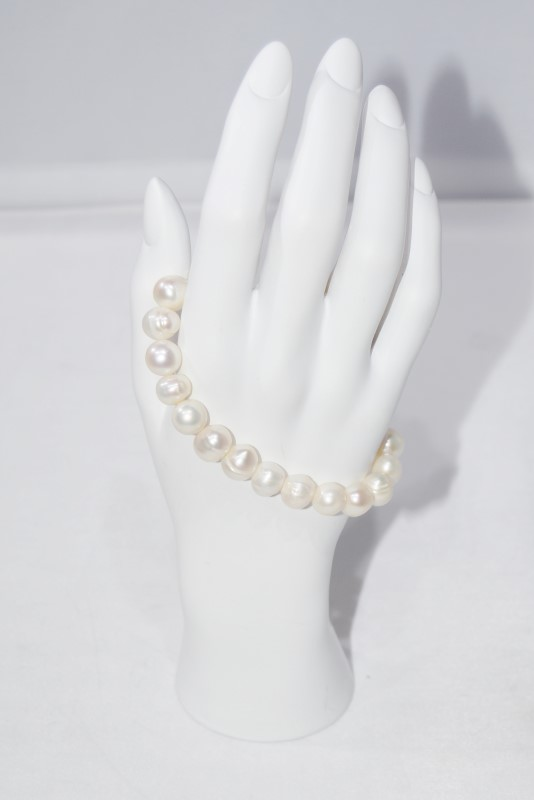 Natural White Baroque Pearl Beaded Stretch Bracelet