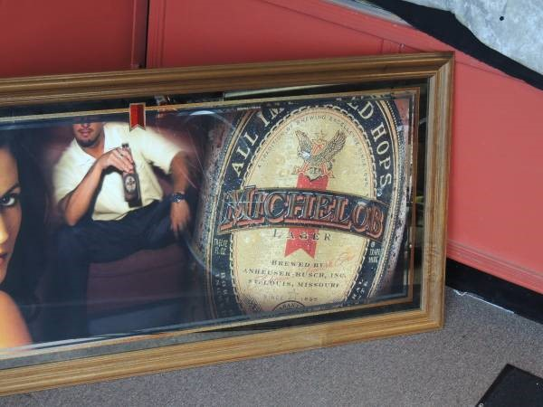 """Michelob Lager 52""""W X 24""""H Bar Mirror Sign"""