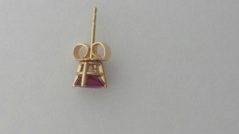 Ruby Gold-Stone Earrings 14K Yellow Gold 0.88g