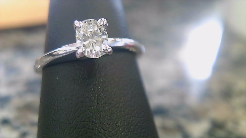 Lady's Diamond Solitaire Ring .40 CT. 14K White Gold 2.4g Size:6