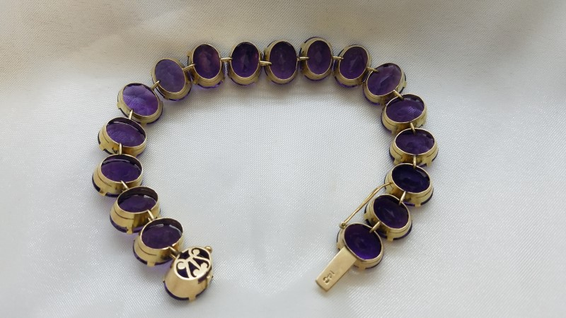 Amethyst Gold-Stone Bracelet 14K Yellow Gold 27.4g