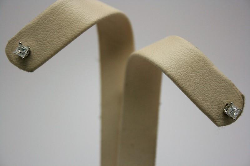 PRINCESS CUT DIAMOND EARRINGS 14K WHITE GOLD