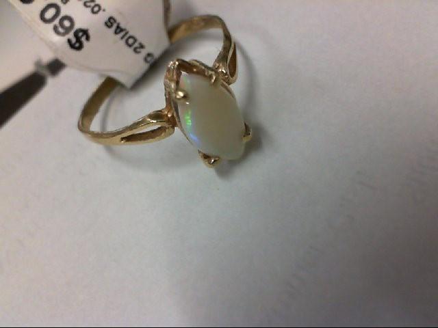 Green Stone Lady's Stone & Diamond Ring 2 Diamonds .02 Carat T.W.