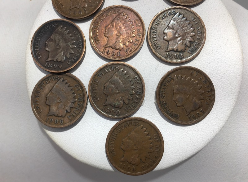 U.S. Indian Head Penny Cents 1899-1908 - Lot of 10 Coins - Nice