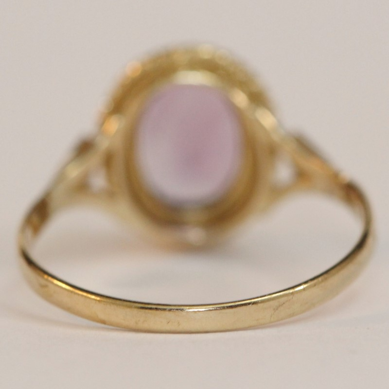 10K Oval Amethyst Ring Size 6.5