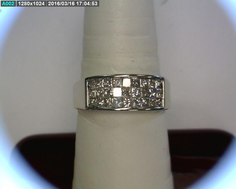Gent's Diamond Cluster Ring 27 Diamonds .81 Carat T.W. 14K White Gold 4.21dwt