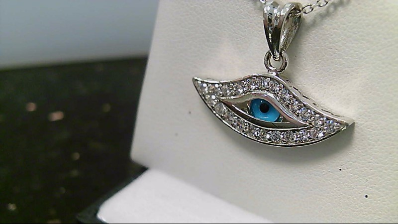 Lady's 18k white gold round cubic zirconia with blue eye pendant