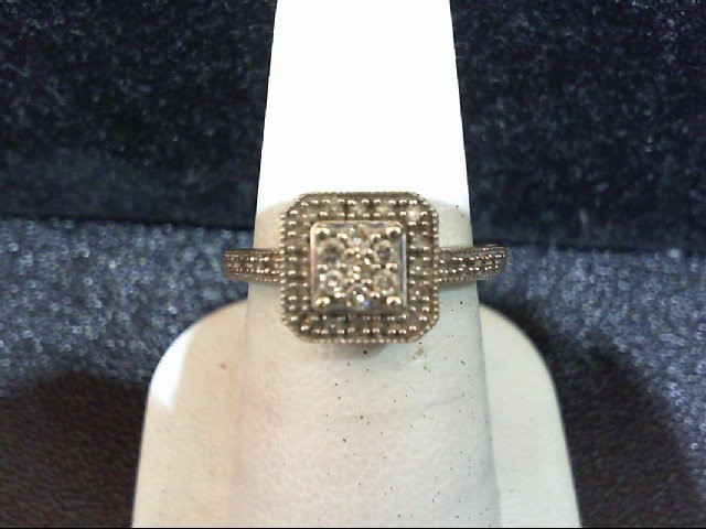 Lady's Diamond Cluster Ring 33 Diamonds .270 Carat T.W. 10K White Gold 2.5g
