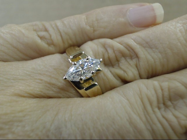 ESTATE MARQUISE CZ SOLITAIRE ENGAGE WED RING SOLID REAL 14K GOLD 9