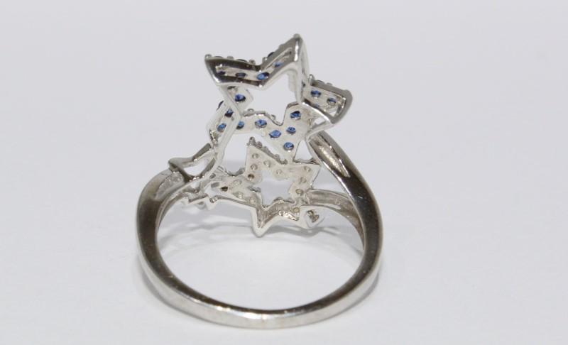 """10K White Gold """"Stars & Stripes"""" Patriotic Blue & White CZ Statement Ring sz 6"""
