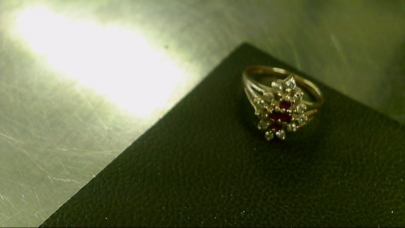 Lady's Diamond Cluster Ring 12 Diamonds .24 Carat T.W. 14K Yellow Gold 3g