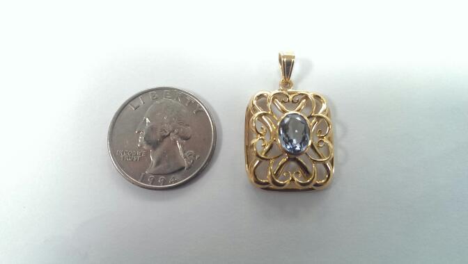 Aquamarine 18K Yellow Gold Pendant 5.1g