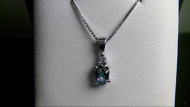 Blue Topaz Gold-Diamond & Stone Pendant .03 CT. 14K White Gold 0.81g