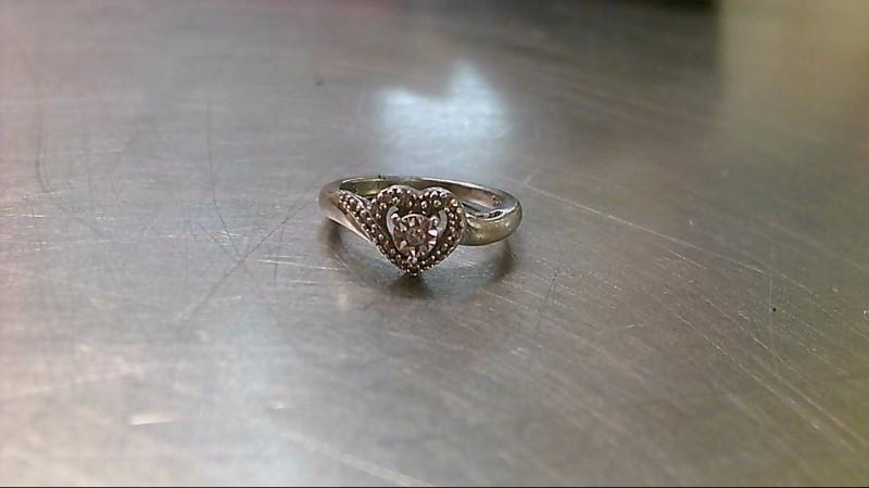 Lady's Silver-Diamond Ring 17 Diamonds .100 Carat T.W. 925 Silver 3.4g