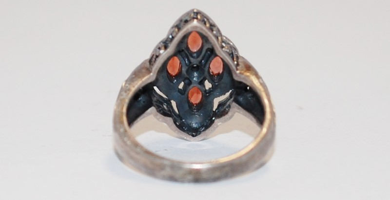 Synthetic Orange Stone Lady's Silver & Stone Ring 925 Silver 5.3g