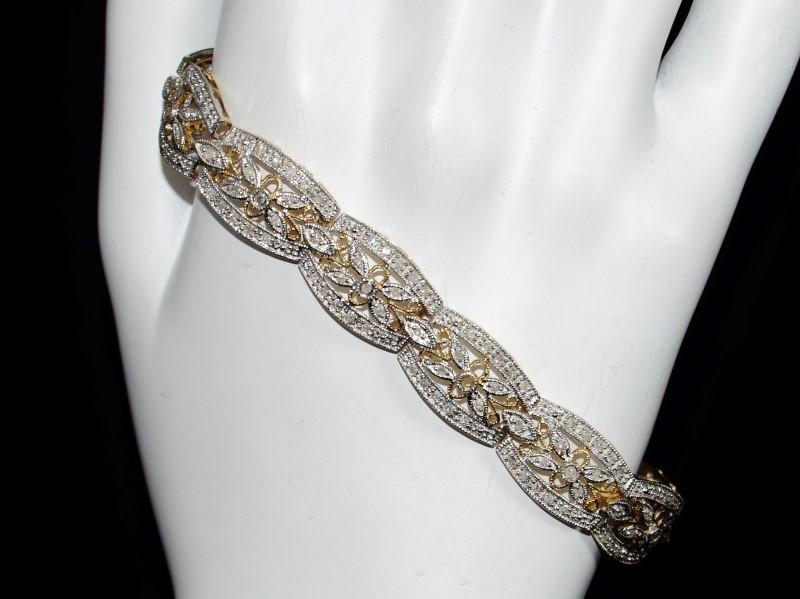 "14K Two Tone Yellow & White Gold Diamond Floral Inspired Bracelet 7"""