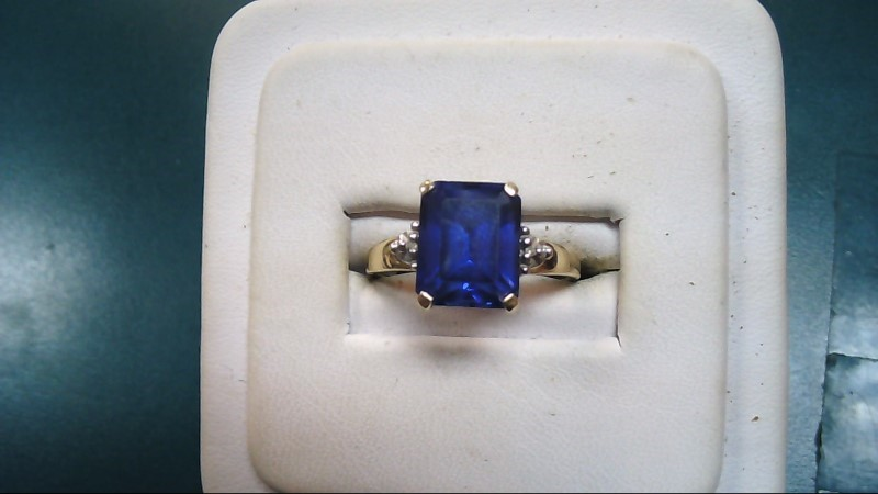 Blue Stone Lady's Stone Ring 10K Yellow Gold 2.5g Size:7.5