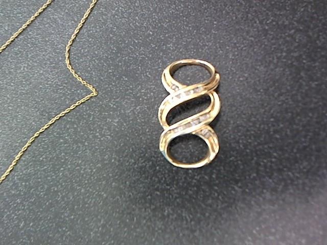 Gold-Diamond Solitaire Pendant 25 Diamonds .25 Carat T.W. 10K Yellow Gold 2.8g