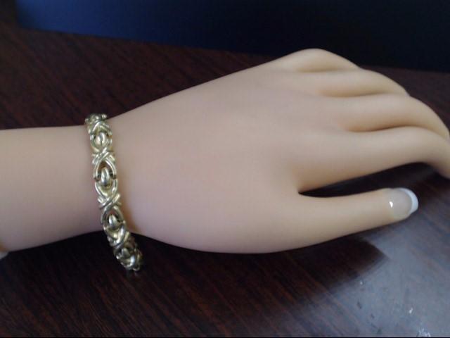"VINTAGE LINK BRACELET SOLID REAL 18K GOLD SCROLL FLAT XO ITALY 7"""