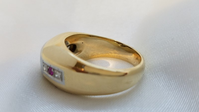 Red Stone Gent's Stone & Diamond Ring 5 Diamonds .64 Carat T.W. 14K Yellow Gold