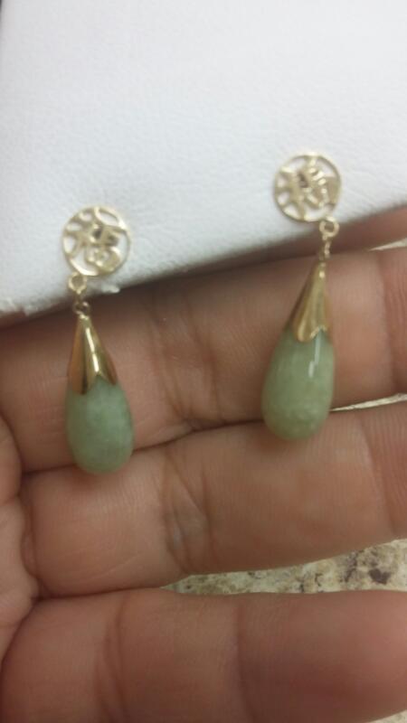 Green Stone Gold-Stone Earrings 14K Yellow Gold 2.1dwt