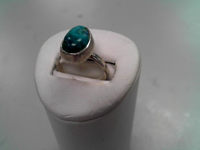 Synthetic Turquoise Lady's Silver & Stone Ring 925 Silver 3.2g