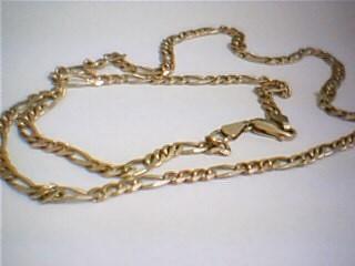 "22"" Gold Figaro Chain 14K 2 Tone Gold 15g"