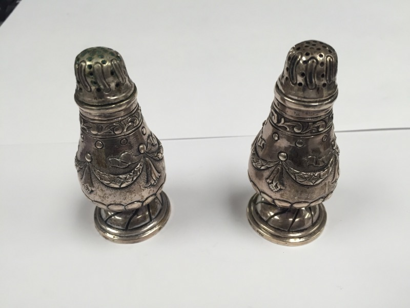 GERMAN 800 SILVER SALT AND PEPPER SHAKERS