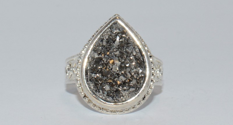 MARCASITE RAW STONE STERLING SILVER RING SIZE 9.25