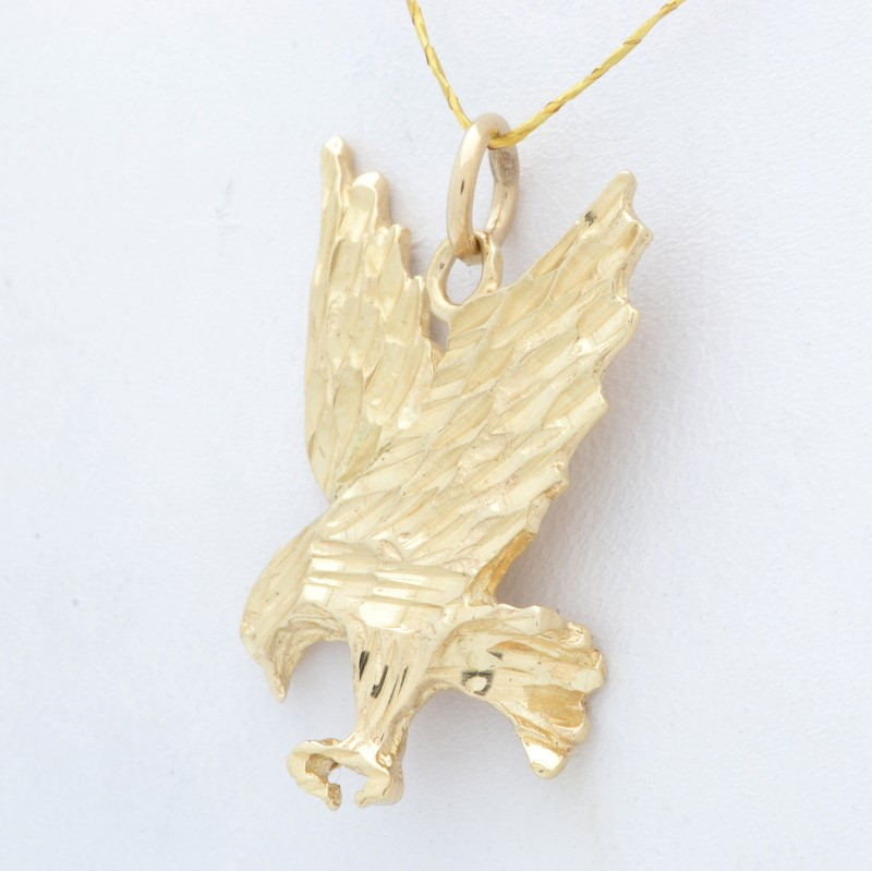 ESTATE EAGLE PENDANT CHARM SOLID REAL 14K YELLOW GOLD MENS USA BIRD