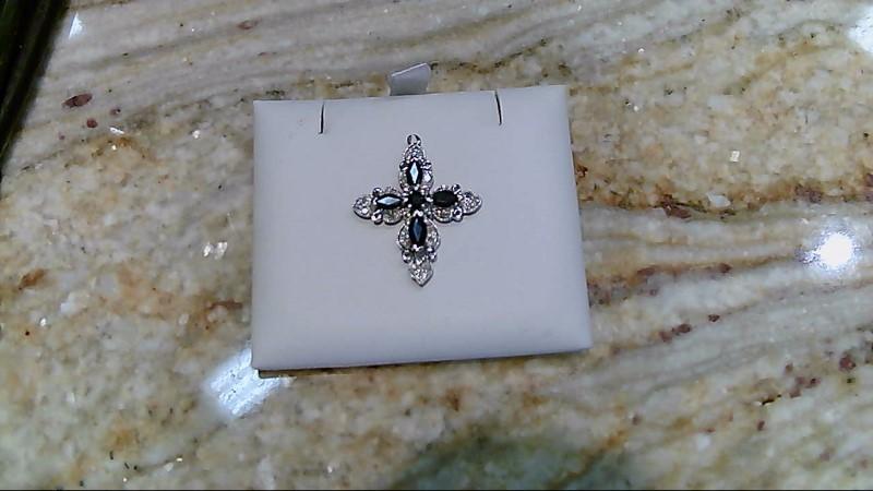 Sapphire Gold-Diamond & Stone Pendant 32 Diamonds .32 Carat T.W. 10K White Gold