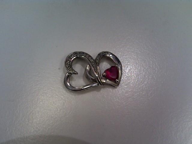 Pink Stone Silver-Diamond & Stone Pendant 14 Diamonds .14 Carat T.W. 925 Silver