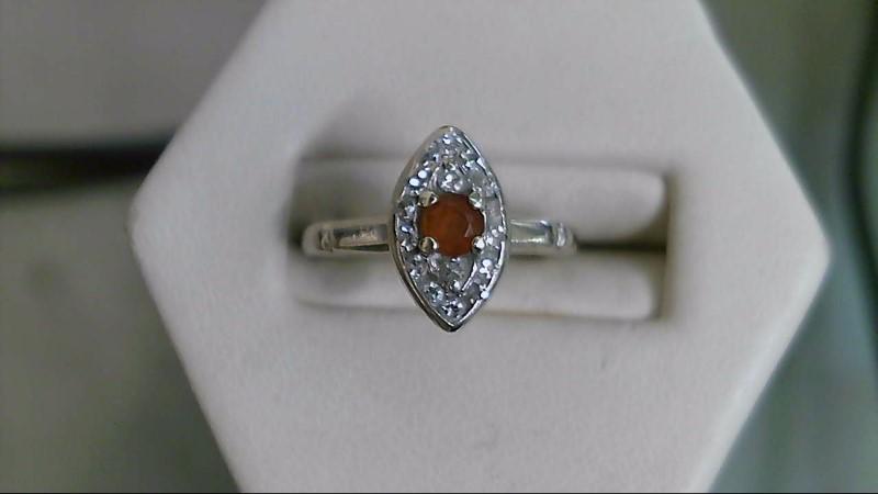 Synthetic Citrine Lady's Stone & Diamond Ring 16 Diamonds .32 Carat T.W.
