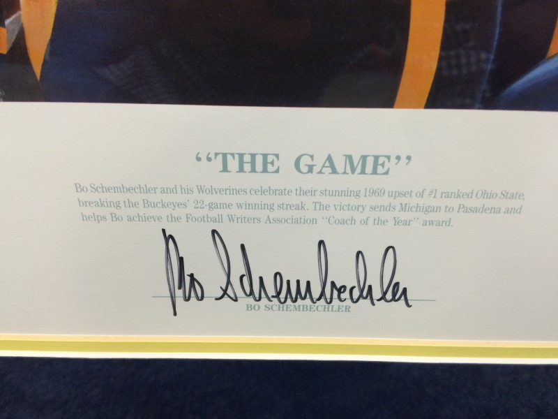 BO SCHEMBECHLER SIGNED PRINT 1969 The Game.