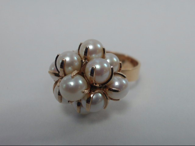 Vintage 14K Yellow Gold Pearl Cluster Ring *Made in Finland* Size 7