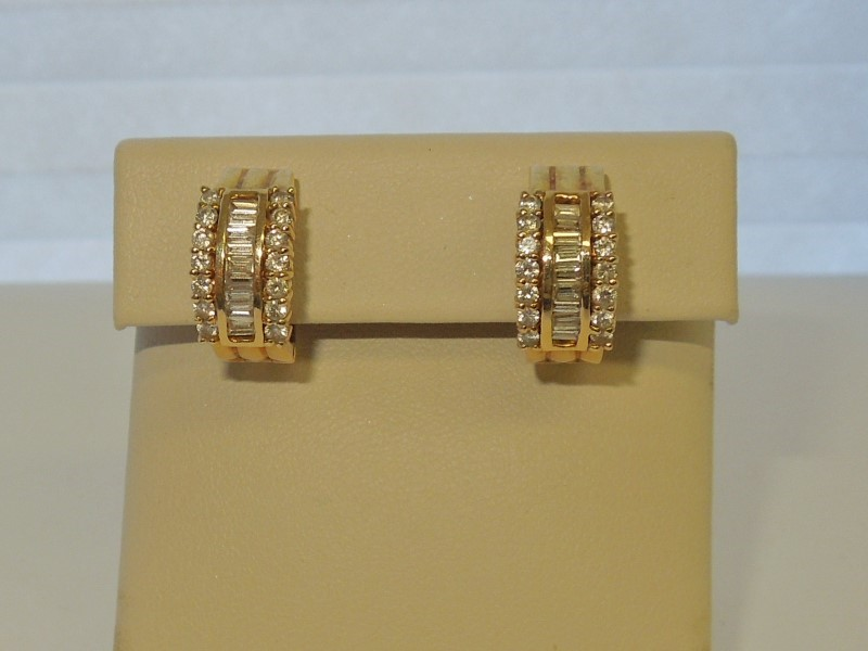 Gold-Diamond Earrings 42 Diamonds .84 Carat T.W. 14K Yellow Gold 8.4g