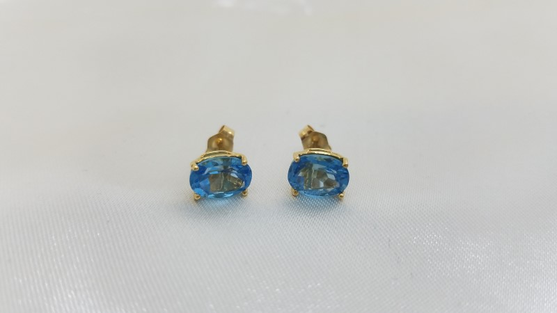 Synthetic Blue Topaz Gold-Stone Earrings 14K Yellow Gold 1.3g