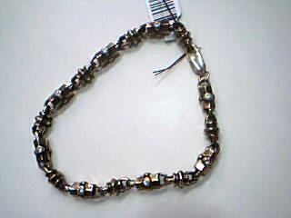 White Stone Gold-Stone Bracelet 14K Yellow Gold 17g