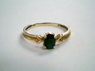 Black Stone Lady's Stone Ring 10K Yellow Gold 1.6g Size:8